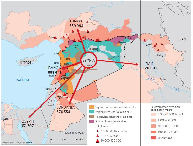 Syyrian pakolaiset naapurimaissa // Grafiikka: Kauko Kyöstiö