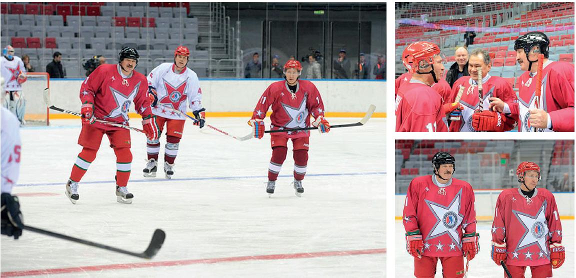 Aljaksandr Lukašenka ja Vladimir Putin kohtasivat Sotšin jääkiekkokaukalossa tammikuussa 2014 järjestetyssä ystävyysottelussa.