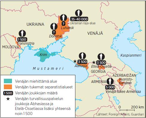 Venäjä on osallistunut asevoimillaan neljään jäätyneeseen konfliktiin entisen Neuvostoliiton alueella jo ennen Ukrainan tapahtumia.