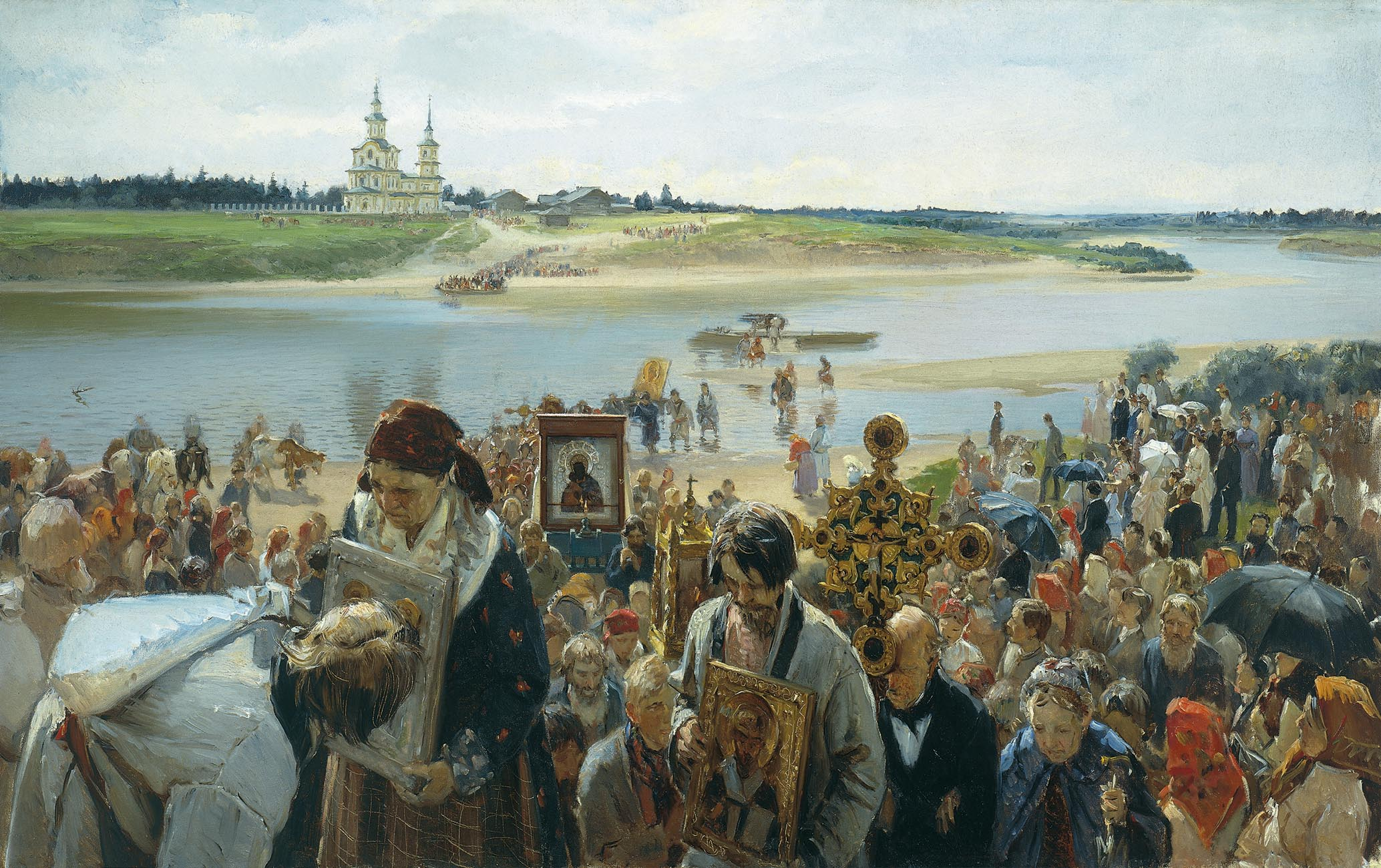 Illarion Prjaniškov: Pääsiäiskulkue (1893).  KUVA: GOOGLE ART PROJECT