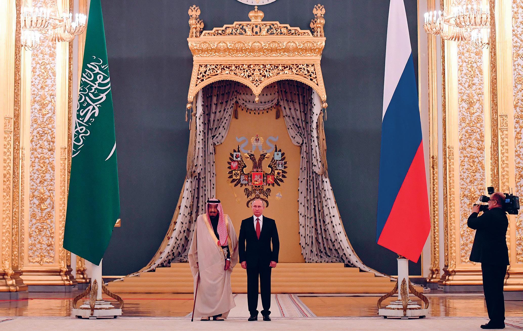 Saudi-Arabian kuningas Salman bin Abdelaziz historiallisella valtiovierailulla Moskovassa lokakuussa 2017.