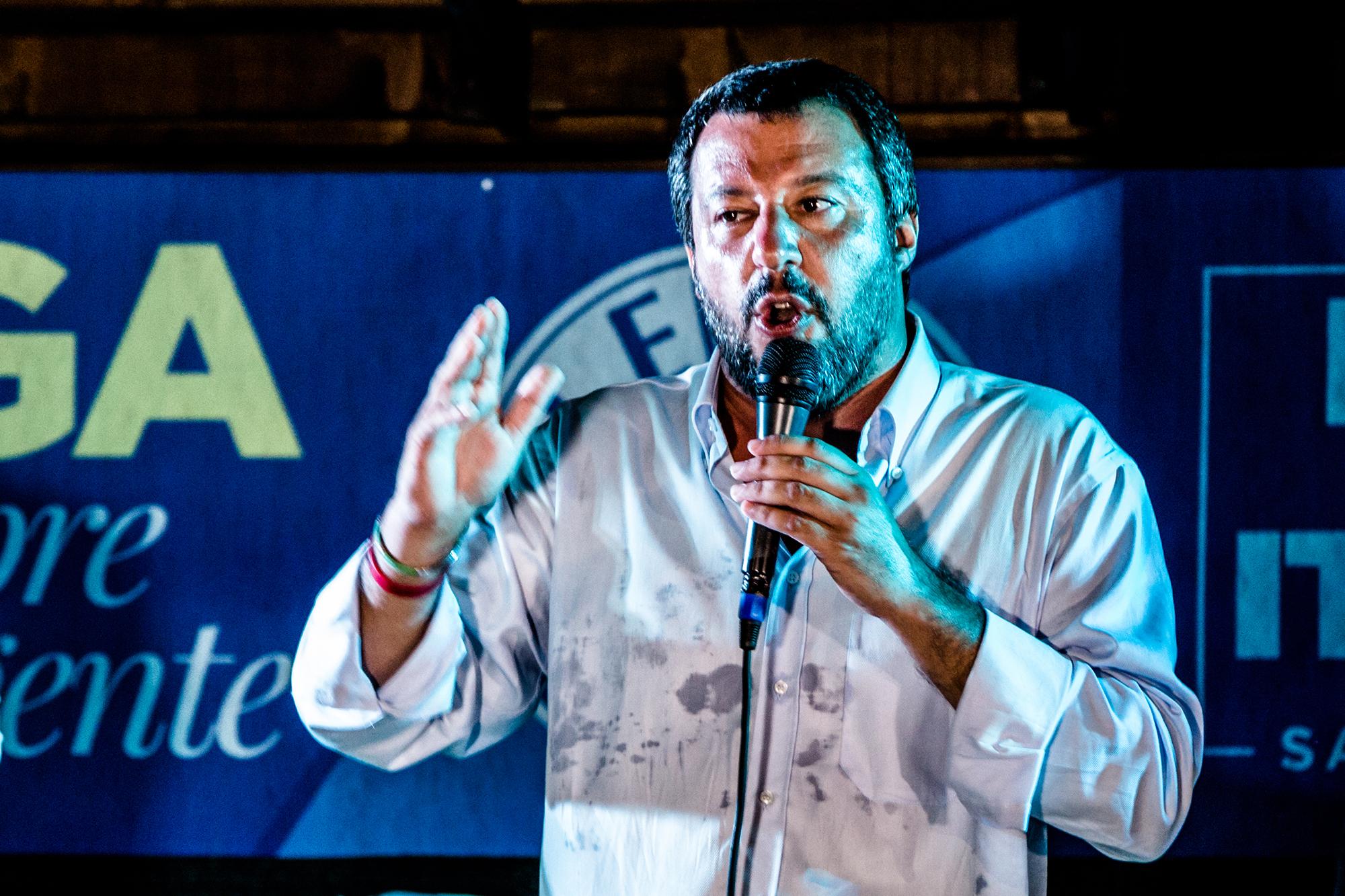 Puheenjohtaja Matteo Salvini puhui kannattajilleen Capriata d'Orbassa Pohjois-Italiassa elokuussa.