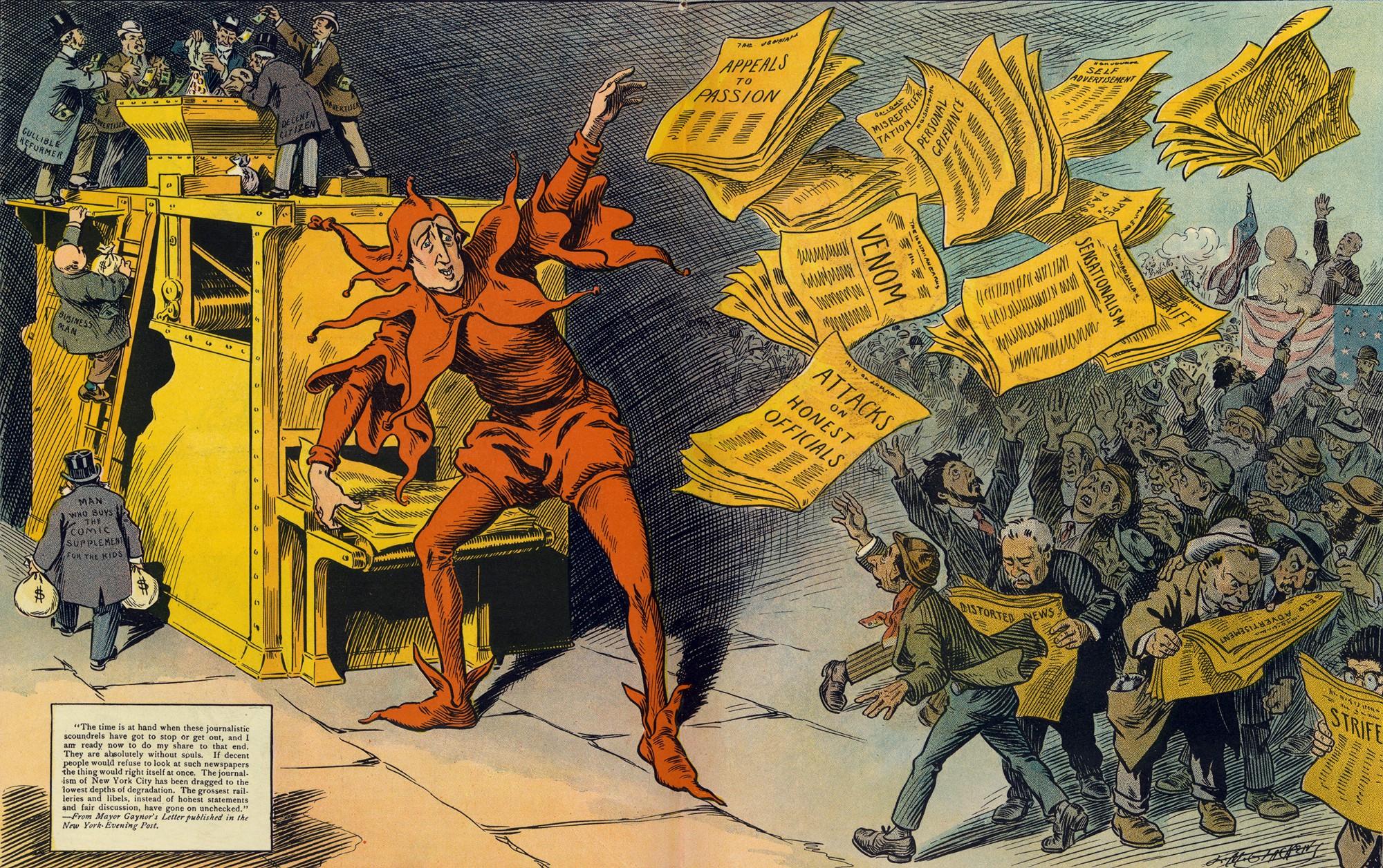 Newyorkilaisessa huumorilehti Puckissa vuonna 1910 julkaistu pilapiirros esitti keltaisen lehdistön totuuden vääristelijänä.