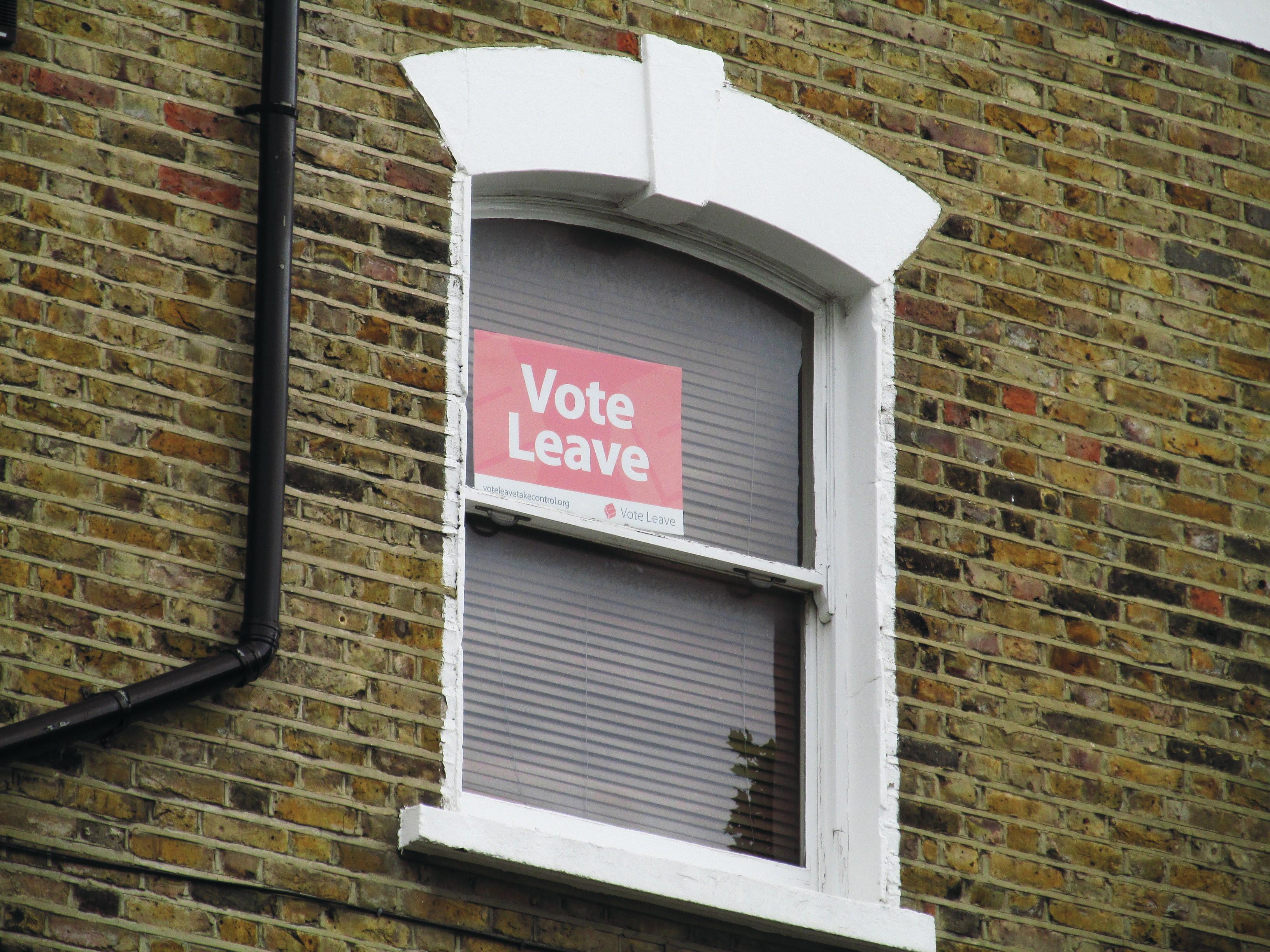 EU-eroa ajavan Leave-kampanjan kyltti Lontoossa. Kuva: David Holt / Wikimedia Commons