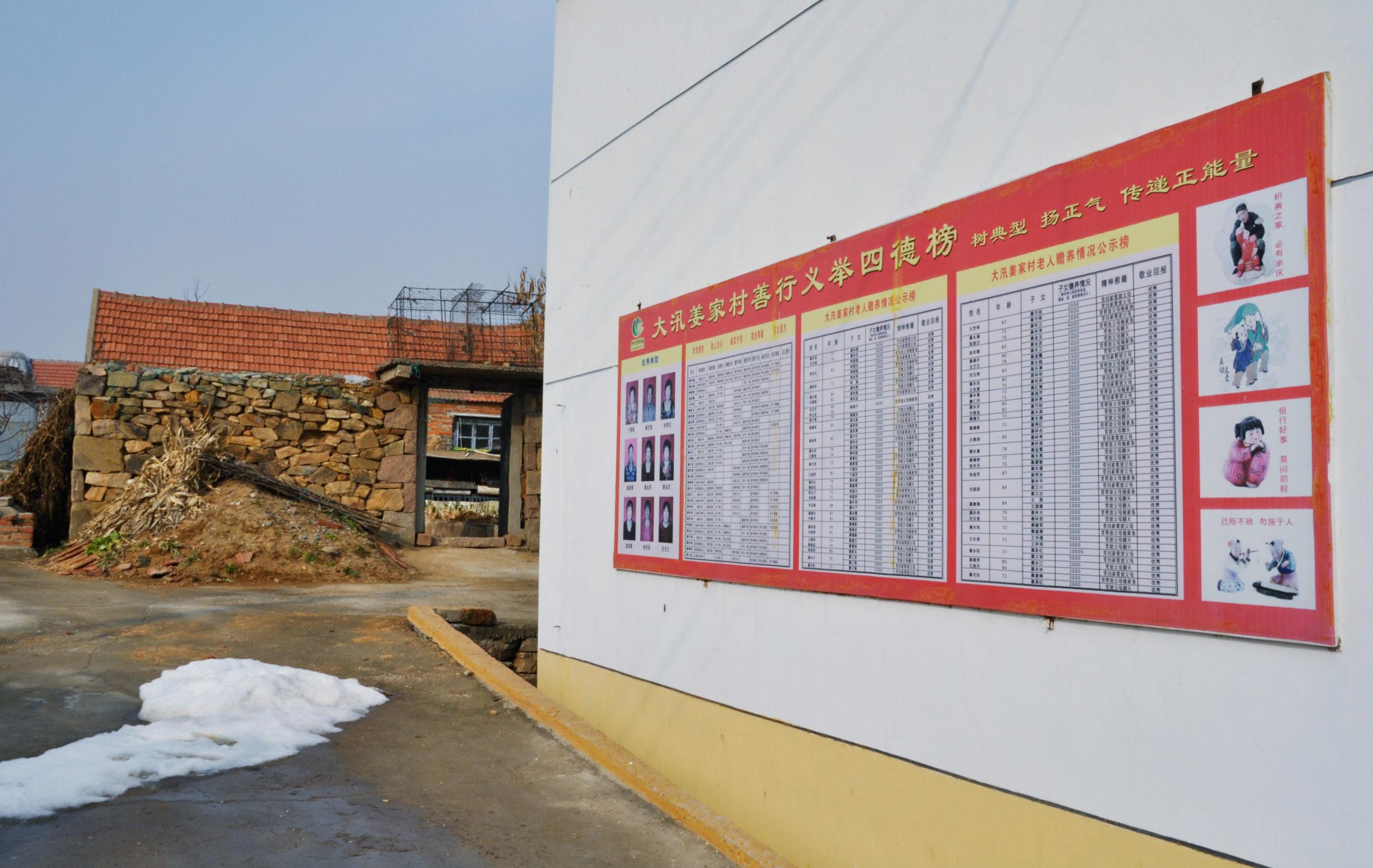 Mallikansalaisten nimiä listattiin taululla Itä-Kiinan Rongchengissa tammikuussa 2018.