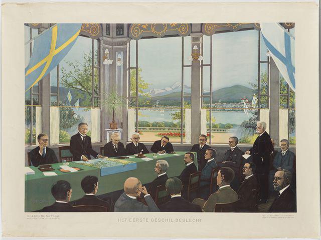 Ahvenanmaan kysymystä käsitellään Kansainliiton kokouksessa. F. Rackwitzin maalaus. Kuva: Museoviraston kuvakokoelmat