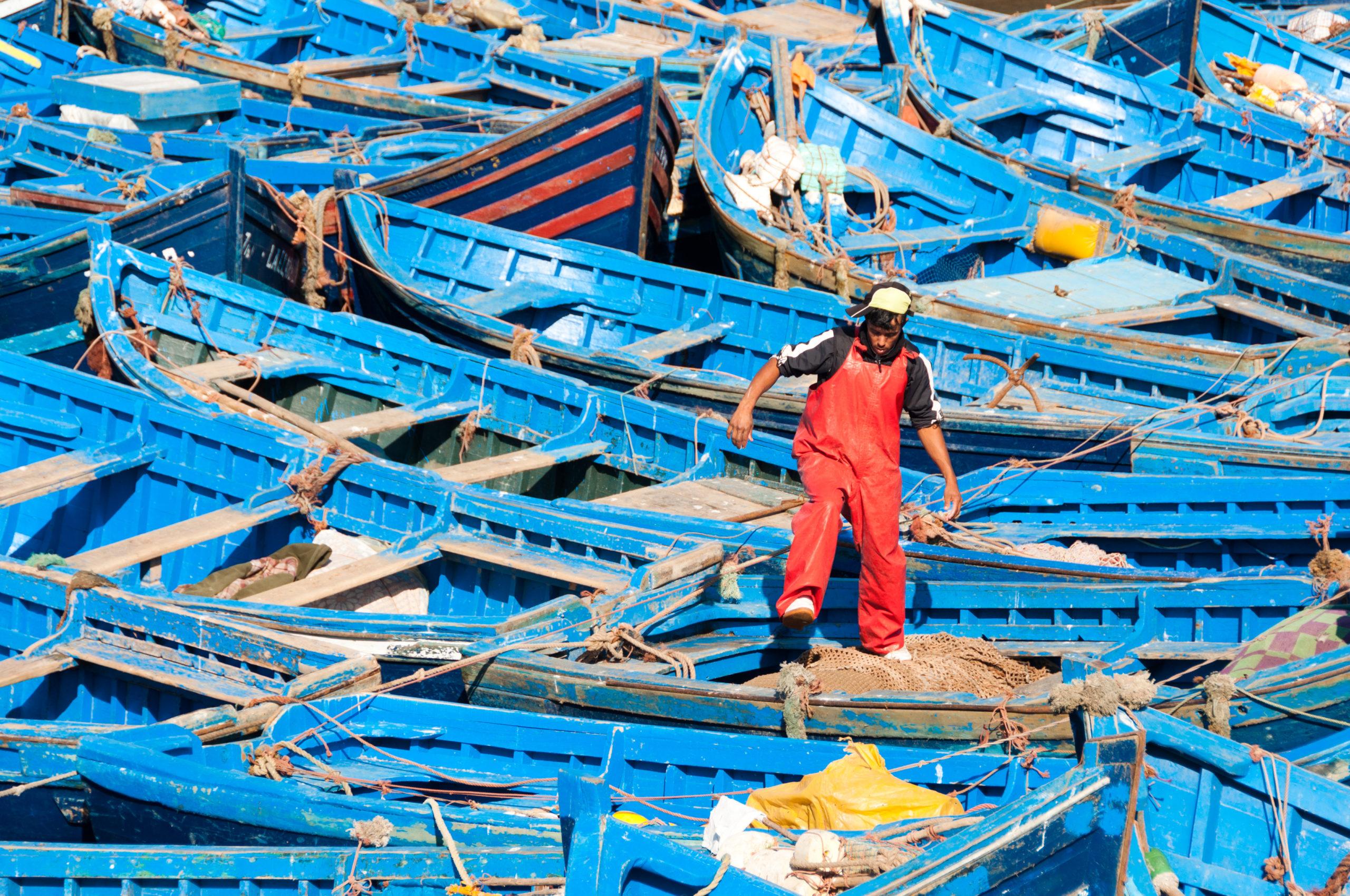 Marokkolaisia kalastusveneitä Essaouiran satamassa Atlantin rannikolla. Kuva: Mark Fischer/Flickr