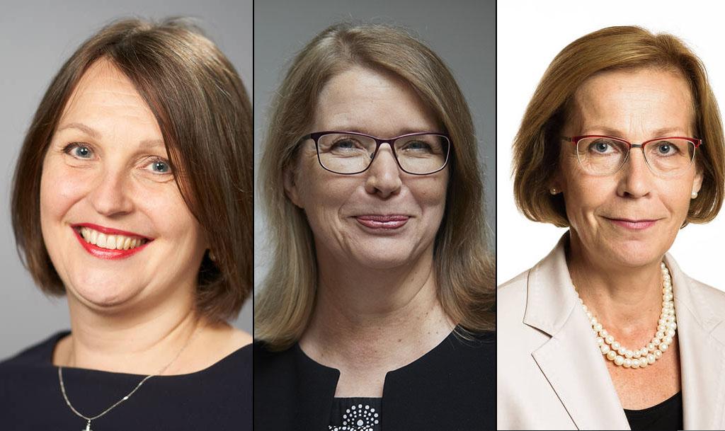 Suomen suurlähettiläät (vasemmalta oikealle) Kirsi Vanamo-Santacruz (Buenos Aires), Anne Sipiläinen (Berliini) ja Ritva Koukku-Ronde (New Delhi). Kuvat: Ulkoministeriö