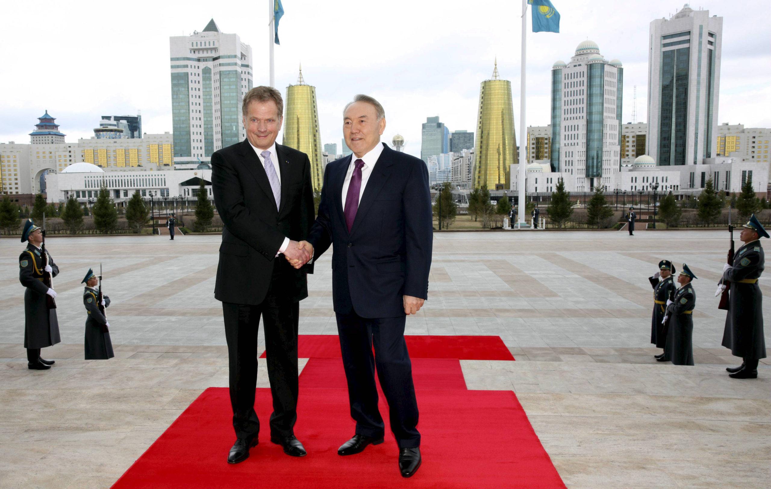Tasavallan presidentti Sauli Niinistö tapasi Kazakstanin presidentti Nursultan Nazarbajevin huhtikuisella Astanan-vierailullaan.