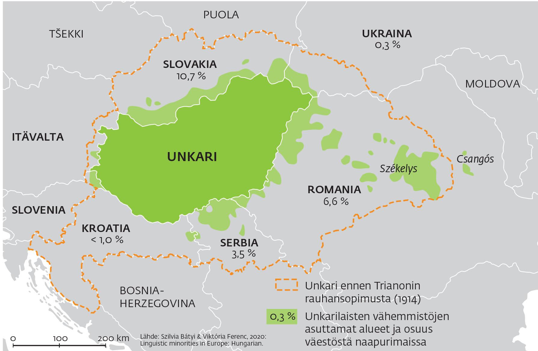 Unkarin kuningaskunnan menetetyt alueet. Kartta: Kauko Kyöstiö