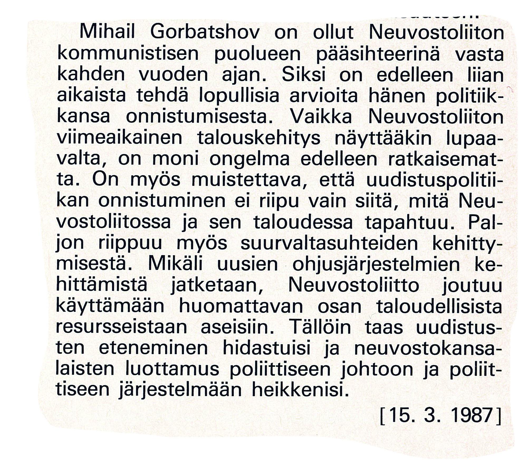 Ulkopolitiikka 1/1987, erikoistutkija Jyrki Iivonen